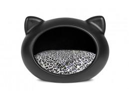 Домик-лежак для кошек GUISAPET BLACK + Animal print